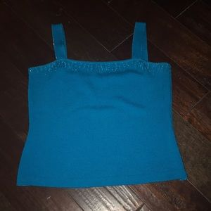 Gently Loved Gorgeous Teal Jeweled St John Tank